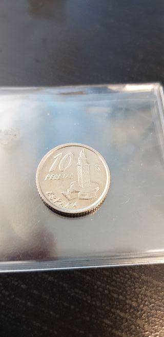 preciosa moneda de 10 pesetas torre hercules