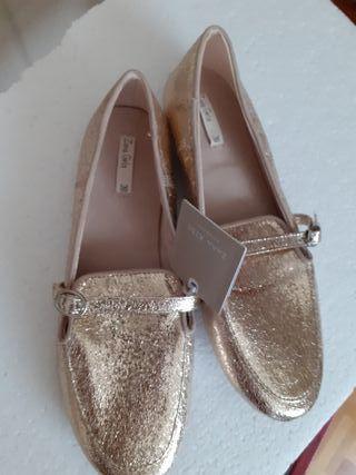 zapato dorado n 38