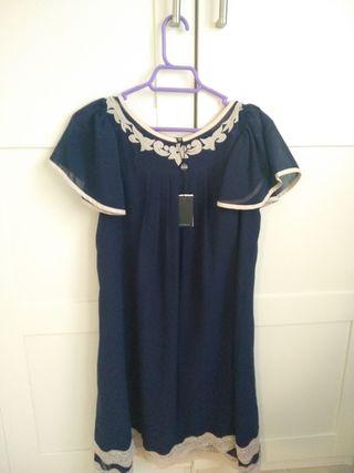 Vestido nuevo gasa azul marino con encaje