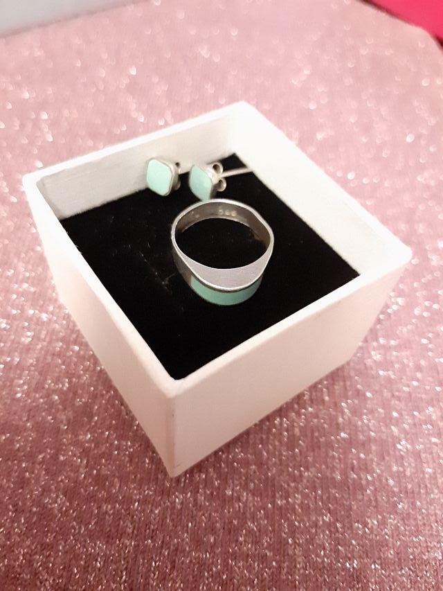 conjunto anillo y pendientes plata de ley 925