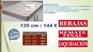 Colchón Visco carbono LIQUIDACION 135 cm
