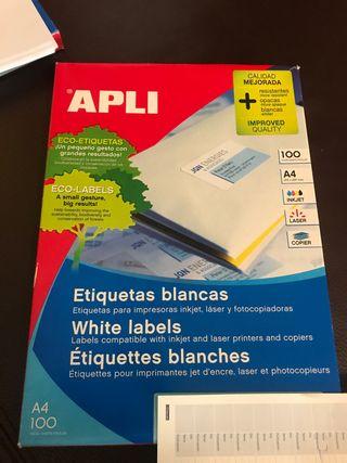 Etiquetas blancas para impresora APLI