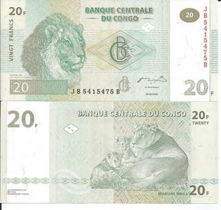 CONGO BILLETE 20 FRANCS 2003