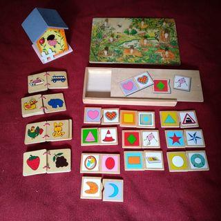 Lote de dominó y puzles de madera.