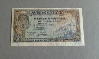 billete 5 pesetas año 1940