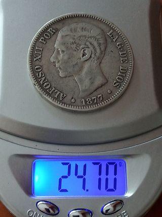 moneda 5 pesetas 1877