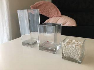 Jarrones cristal cuadrados