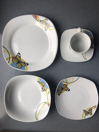 Vajilla porcelana nueva 15 piezas (3 comensales)