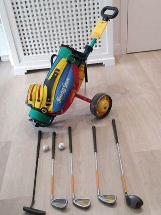 set palos de golf infantil + carrito