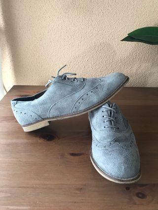 Zapato Oxford de piel (ante) gris mujer talla 39