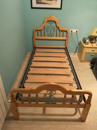 cama madera pino Macizo, somier de 90, con forja