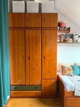 armario + cama + escritorio + estant. madera pino