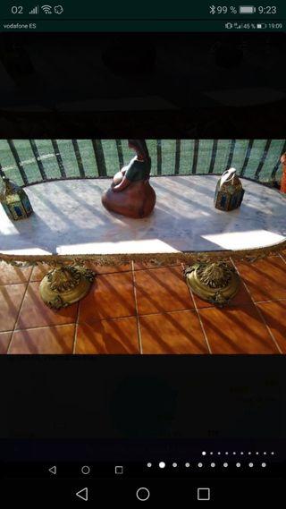 Mesa bronce y marmol antiguo