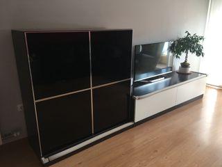 Mueble Salón tv y aparador vitrina