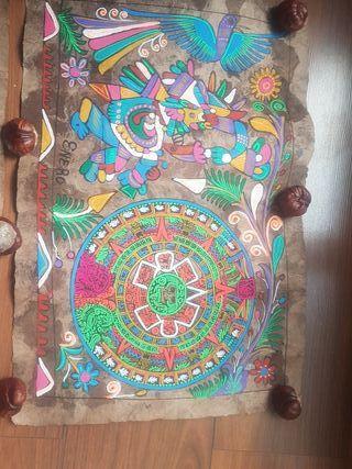 papel amate del calendario Azteca. Mexico/Mejico