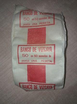 Antiguo carton de monedas Banco Vizcaya años 40