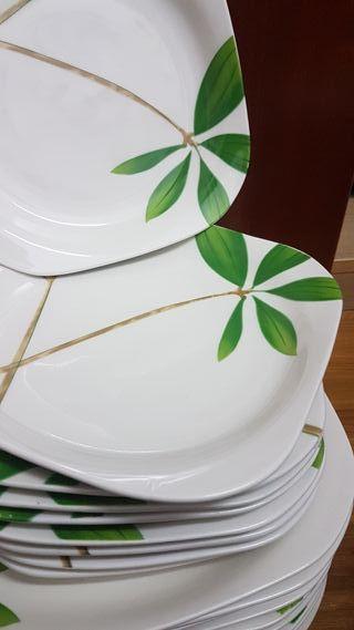 vajilla moderna con tonos verdes
