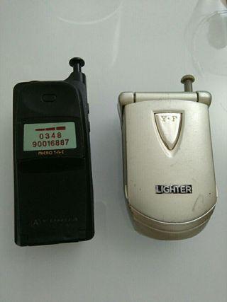 2 mecheros encendedores teléfonos móviles