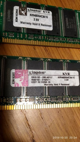 Memoria RAM Kingston KVR400 1 g
