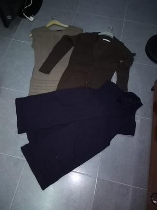 Chaleco, chaqueta y vestido de lana