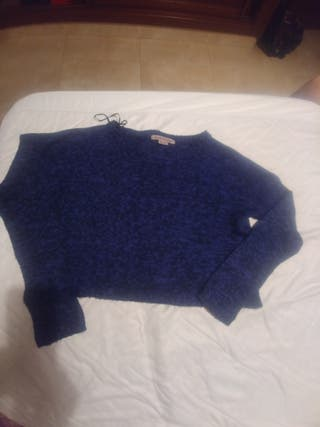 jersey lana burdeos y azul