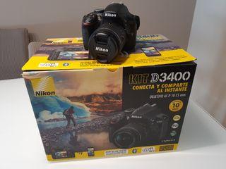 Cámara Nikon D3400 kit y seguro nueva