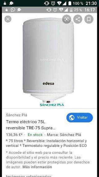 calentador eléctrico agua 75lts