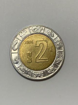 Moneda MEXICO 2 dolares mexicanos año 2006
