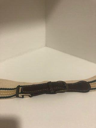 Cinturón de luneta y cuero color amarillo y verde