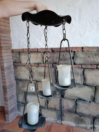 Lámpara techo forja 3 luces Medieval.