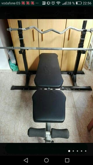 banco de musculación+soportes+barras+maleta pesas