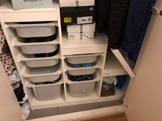 IKEA armario, zapatero, almacenaje cajones plast.