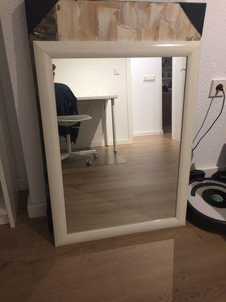 Espejo con marco madera blanca 80x60