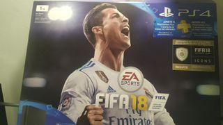 PlayStation 4, 1TB, 2 mandos, GTA V y FIFA 18