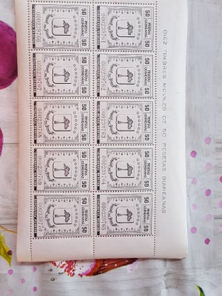 10 sellos timbres móviles 50 pts guineanas