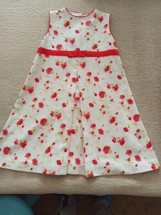 Vestido blanco flores rojas niña, nuevo!