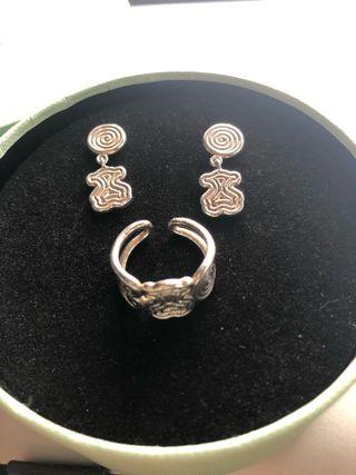 Conjunto TOUS anillo y pendientes plata Massai