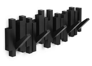 Perchero decorativo de pared Sticks Negro