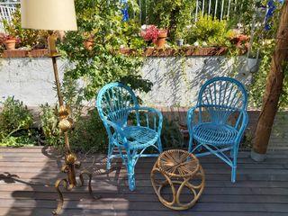 Pareja de sillas sillones de mimbre artesanal