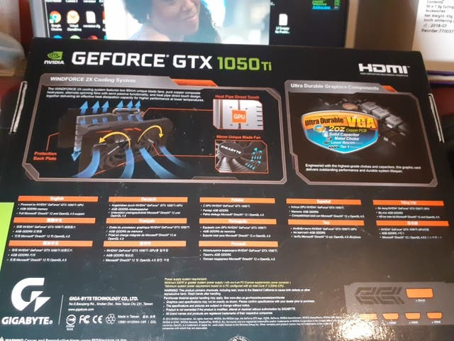 Geforce gtx 1050ti windforce OC 4GB