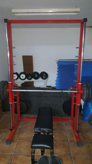 maquina gimnasio multipower pesas discos