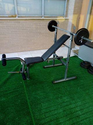 banco press, pesas, musculación