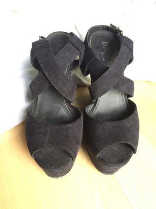 Sandalias de vestir cuña 36 negro
