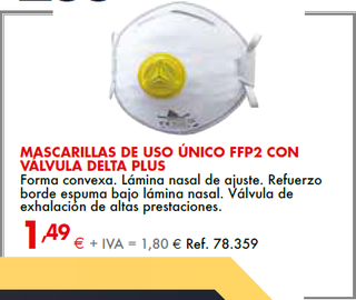 MASCARILLAS DE USO ÚNICO CON VÁLVULA