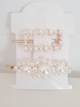 hair clips mujer perlas