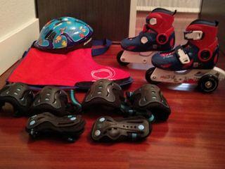 patines protecciones bolsa y casco