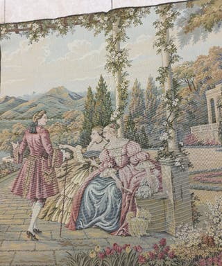 precioso tapiz antiguo 72×68 centímetros