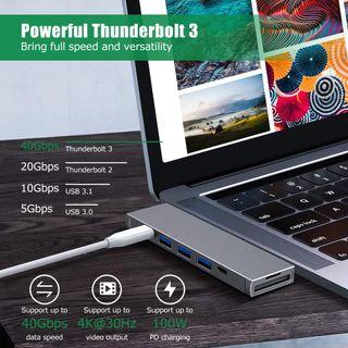 Adaptador Hub USB C Dual Tipo C 8 en 1 Thunderbolt