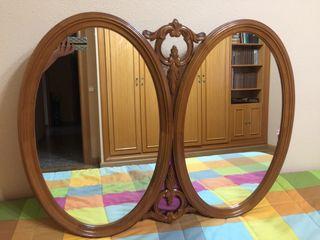 Espejo antiguo con dos lunas madera macizo