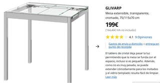 mesa cristal extensible + 4 sillas negras